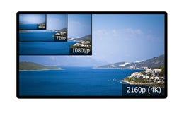 exposição da televisão 4K Fotos de Stock