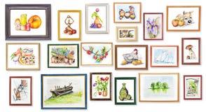 A exposição das crianças de artes da aguarela ilustração do vetor