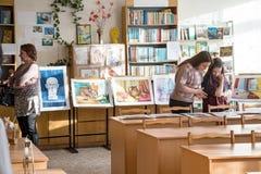 Exposição das pinturas dos estudantes Fotografia de Stock