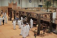 Exposição de Abu Dhabi International Hunting e do cavaleiro (ADIHEX) - autoridade de Abu Dhabi Tourism & da cultura fotografia de stock