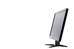 Exposição de computador do monitor do diodo emissor de luz do lado na tecnologia branca do desktop do hardware do fundo isolado Fotografia de Stock Royalty Free