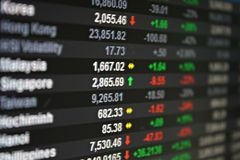 Exposição de dados do mercado de valores de ação de Asia Pacific no monitor Fotografia de Stock