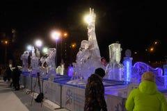 Exposição de esculturas de gelo competitivas Fotografia de Stock