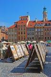 Exposição do desenho na cidade velha Market Place de Varsóvia Fotografia de Stock
