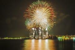 Exposição do fogo de artifício de Castell de Foc dentro do celebrati do major de Festa Imagens de Stock Royalty Free