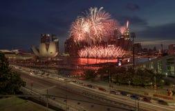 Exposição do fogo de artifício em Singapura foto de stock royalty free