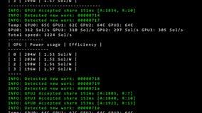 Exposição do PC com código de corrida do programador de software do trabalho de mineração - video estoque