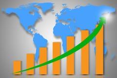 Exposição dobro com o mapa do mundo azul com gráfico de barra descendente de fotografia de stock