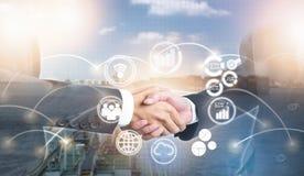 Exposição dobro de agitar executivos da mão para o negócio do sucesso com ícone novo imagem de stock