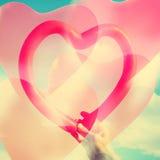 Exposição dobro de balões coração-dados forma Fotografia de Stock Royalty Free