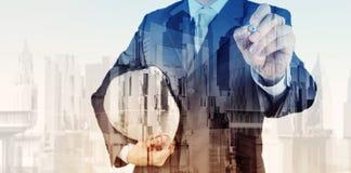 Exposição dobro do coordenador de negócio e da cidade abstrata Imagens de Stock Royalty Free