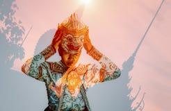 Exposição dobro Khon a identidade que reflete a arte e o culto fotografia de stock