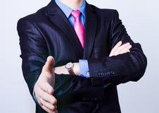 Exposição dobro - retrato de uma posição bem sucedida do homem de negócios fotos de stock royalty free