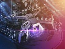Exposição dobro, voo de controle remoto moderno do zangão do ar com câmera da ação No fundo preto 3d Fotos de Stock Royalty Free