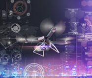 Exposição dobro, voo de controle remoto moderno do zangão do ar com câmera da ação No fundo preto 3d Imagem de Stock Royalty Free