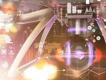Exposição dobro, voo de controle remoto moderno do zangão do ar com câmera da ação No fundo preto 3d Imagens de Stock