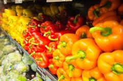 Exposição dos legumes frescos - vermelhos, pimentas de Bell amarelas, alaranjadas Imagens de Stock