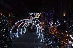 Exposição espetacular de iluminações do Natal no arco Joanesburgo da melrose imagens de stock royalty free