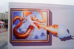 exposição estereoscopicamente da pintura 3D, espirituoso e interessante Foto de Stock Royalty Free