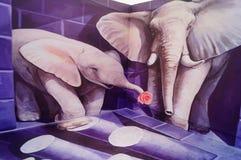 exposição estereoscopicamente da pintura 3D, espirituoso e interessante Imagem de Stock