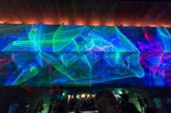 Exposição infinita do laser da curva durante a noite branca de Melbourne Foto de Stock