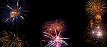 Exposição larga dos fogos-de-artifício feita de fotos pirotécnicas reais Foto de Stock Royalty Free