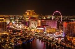 Exposição longa do hotel do flamingo & do rolo alto de Linq imagens de stock