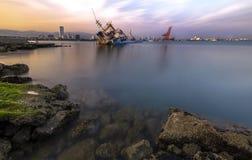 Exposição longa do porto internacional MIP de Mersin Fotos de Stock