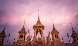Exposição na cerimônia real da cremação, Sanam Luang, Banguecoque, Tailândia em November7,2017: Crematório real para a cremação r imagem de stock royalty free
