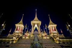 Exposição na cerimônia real da cremação, terra cerimonial de Sanam Luang, Banguecoque, Tailândia em November7,2017: Crematório re foto de stock