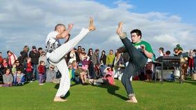Exposição pública das artes marciais: dois pontapés altos foto de stock royalty free