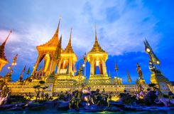 Exposição real da cremação, Sanam Luang, Banguecoque, Tailândia em November7,2017: Crematório real para a cremação real de seu Ma imagens de stock royalty free