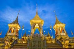 Exposição real da cremação, Sanam Luang, Banguecoque, Tailândia em November7,2017: Crematório real para a cremação real de seu Ma fotografia de stock royalty free