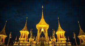 Exposição real da cremação, Sanam Luang, Banguecoque, Tailândia em November7,2017: Crematório real para a cremação real de seu Ma foto de stock royalty free