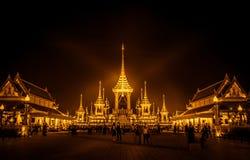 Exposição real da cremação, Sanam Luang, Banguecoque, Tailândia em November7,2017: Crematório real para a cremação real de seu Ma foto de stock