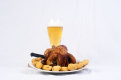 Exposição Roasted da galinha Imagens de Stock