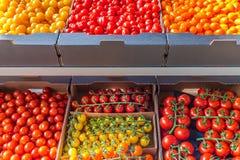 Exposição varejo de tomates amarelos, alaranjados e vermelhos frescos diversos imagens de stock