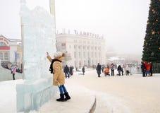 Exposición de la escultura de hielo en Dmitrov, Rusia. Fotos de archivo libres de regalías