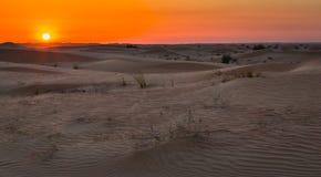 Exposición de la puesta del sol del desierto cerca de Dubai, United Arab Emirates fotos de archivo libres de regalías