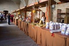 Exposición de las pastas en Italia Fotos de archivo libres de regalías