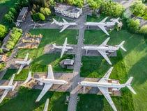 Exposición de los aeroplanos de Aeroflot en Kryvyi Rih Imágenes de archivo libres de regalías