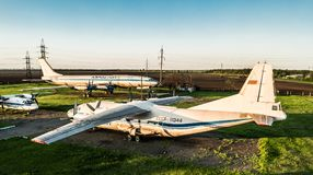 Exposición de los aeroplanos de Aeroflot en Kryvyi Rih Fotos de archivo libres de regalías