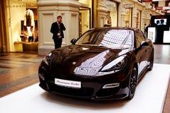 Exposición de Porsche Panamera Foto de archivo libre de regalías