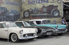 Exposición de retro-coches Fotografía de archivo libre de regalías