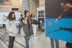 Exposición de World Press Photo en Budapest Fotografía de archivo