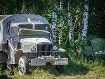 Exposición del equipo militar del vintage en la región de Kaluga en Rusia el 26 de junio de 2016 Fotografía de archivo libre de regalías