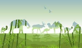 Exposición doble, animales salvajes ilustración del vector