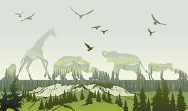 Exposición doble, animales salvajes y bosque stock de ilustración