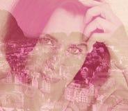 Exposición doble, composición, imagen, arte pop, dibujo, ojos, mujer, muchacha, hembra, cara, sueño, ilusión, retrato, fantasía,  imagen de archivo