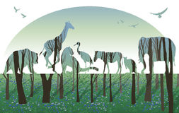 Exposición doble, concepto de la fauna stock de ilustración